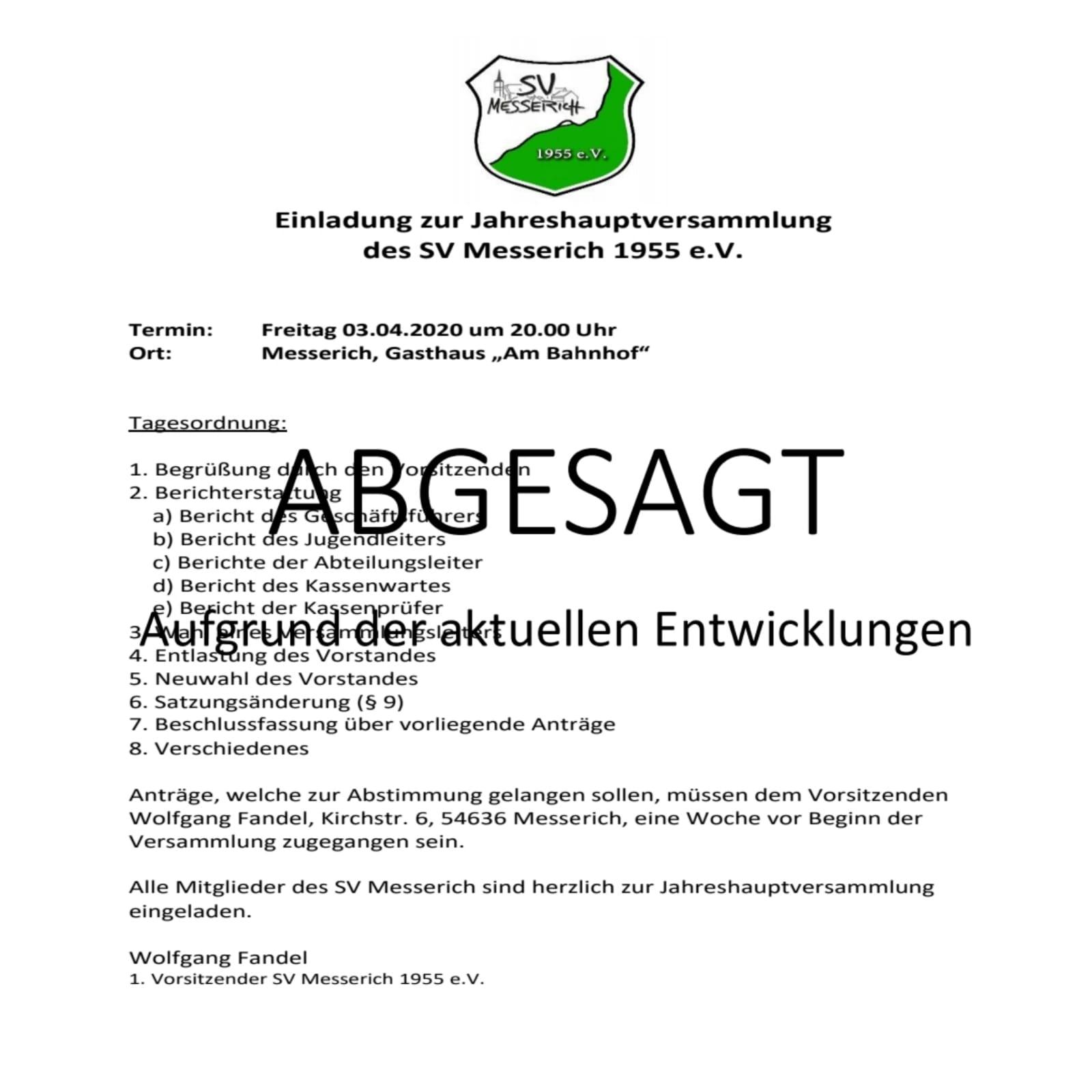 Jahreshauptversammlung abgesagt